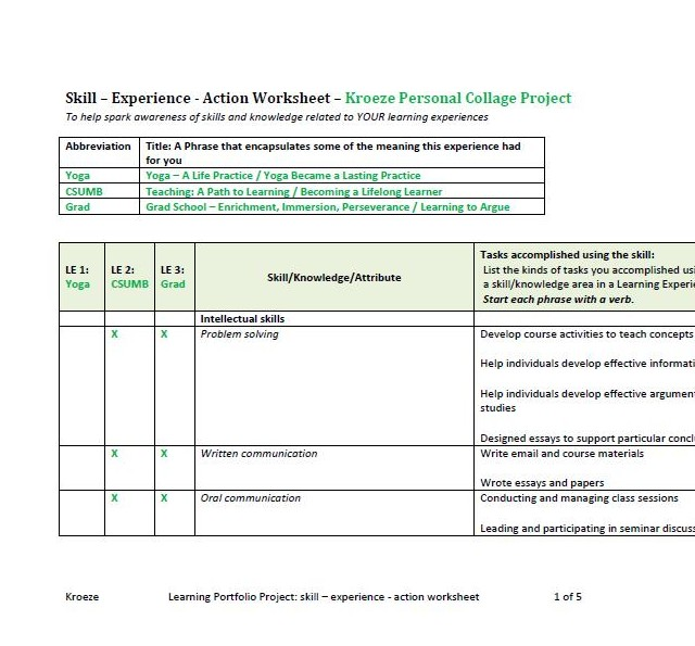 Complete Your Skills Experience Action Worksheet Learning